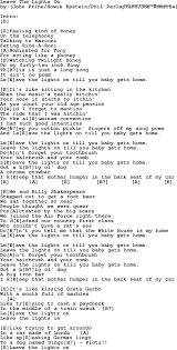 Light On Lyrics Leave The Lights On Bluegrass Lyrics With Chords