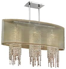33 w oval shaded crystal strand chandelier soho 626a contemporary kitchen island lighting by glow lighting