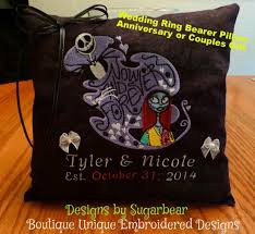 nightmare before pillow wedding ring bearer anniversary couples gift personalized unique boutique embroidered designs by sugarbear