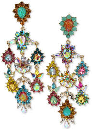 betsey johnson gold tone multi stone flower chandelier earrings