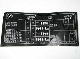 Bmw E38 Tyre Pressure Table Sticker Label Chart 2122345