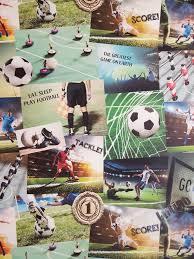 fine decor kids boys soccer football collage wallpaper fd41915