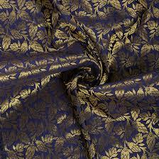 Floral Brocade Blue And Golden Floral Brocade Silk Fabric 8557
