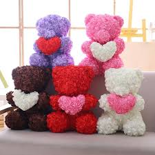 2019 simulation rose bear toy ribbon romantic valentine s day gift teddy bear doll rose flower artificial decoration gifts from cover3129