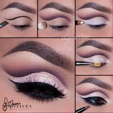 gorgeous cut crease by using all motives steps by using vino on a think slanted brush and apply a line where you makeup step