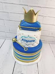 Nashville Sweets Blue Gold Royal Baby Shower Cake With Crown