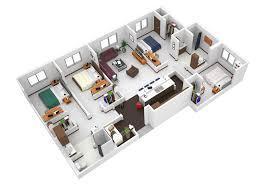 4 bedroom floor plans. 4 Bedroom Floor Plan In 3d Plans