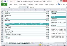 How To Plan A Personal Budget Free Personal Monthly Budget Template For Excel