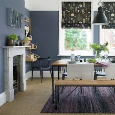 Country dining room ideas Farmhouse Dining Deep Blue Dining Room With Benches And Floral Blinds Ideal Home Country Dining Room Pictures Ideal Home
