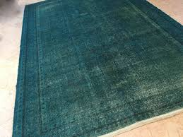 teal rug teal rustic home decor overdyed rug overdyed turkish rug 7x10