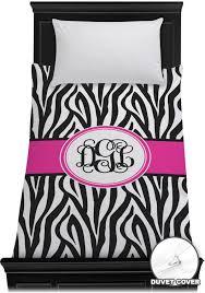 zebra print duvet cover personalized