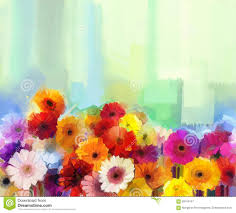 oil painting still life of yellow red and pink color flower colorful bouquet of daisy and gerbera flowers