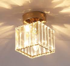 Glass Flush Mount Ceiling Light Us 22 51 21 Off Ganeed Modern Semi Flush Mount Ceiling Light Crystal Glass Ceiling Lamp Mini Light For Hallway Entryway Bedroom Square Gold In