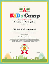 certificates of completion for kids kids certificate template in vector for camping participation stock