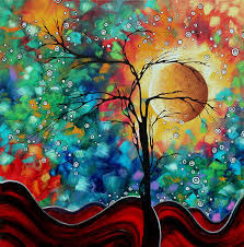 oversized painting abstract art original whimsical modern landscape painting bursting forth by madart by megan