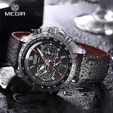 <b>MEGIR hot fashion man's</b> quartz wristwatch brand waterproof leather ...