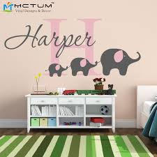 elephant wall decal custom name removable nursery wall decals vinyl wall stickers for baby kids room decoration free wall stickers