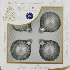 Vitbis Weihnachtskugeln Glas ø 6 Cm 4 Stück Dekor Silber