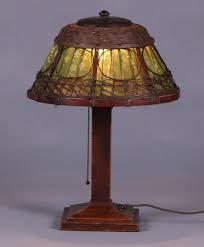 gustav stickley oak hammered copper and wicker lamp unsigned original finish 18