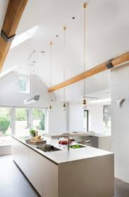 skylights mini pendant lights contemporary kitchen vaulted ceiling lighting ideas