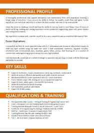 Resume Example 55 Cv Template Australia Mechanical And Maintenance