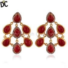 high quality jewelry 24k yellow gold plated brass red aventurine and cz womens chandelier earrings statement