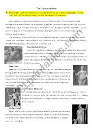 Olympian Gods And Goddesses Chart Brief Introduction On The Olympian Gods Esl Worksheet By