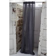solid slate grey linen gauze window curtain