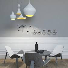 coffee cup pattern pvc removable room vinyl decal wall sticker home decor