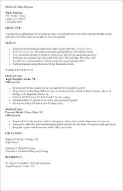 Medical Coder Resume Sample