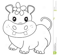 Female Hippopotamus Coloring Page Stock Illustration Illustration