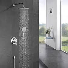 Ubeegol Duscharmatur Unterputz Duschsystem Regendusche Mit überkopfbrause 3 Strahlarten Handbrause Duschset Komplettset Brausegarnitur Duschgarnitur