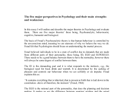 the five major perspectives in psychology and their main strengths document image preview