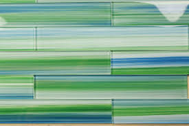 Blue Green X Hand Painted Subway Glass Tile Kitchen For - Glass tile bathrooms