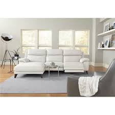 frost white leather match power reclining sofa with left arm facing chaise venice rc willey furniture