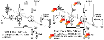 fuzz face using 2n5088 2n3904 will it works i don t see any different in circuit between the npn and pnp one why is that