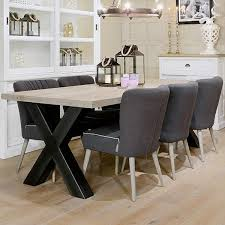 industrial kitchen table furniture. hoxton industrial cross leg oak dining table with upholstered chairs kitchen furniture a
