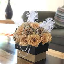 Paper Flower Centerpieces At Wedding Centerpiece In Black And Gold Handcrafted Paper Flowers Black And Gold Floral Arrangement Wedding Table Centerpiece