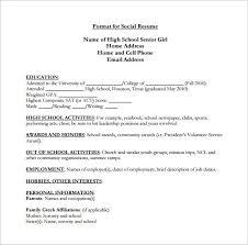 High School Senior Resume Filename My College Scout