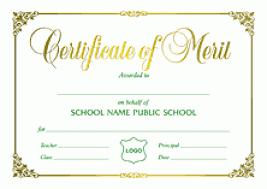 Certificate Of Merit Sample Under Fontanacountryinn Com