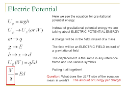 electric potential here we see the equation for gravitational potential energy