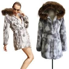 wish stunning vintage winter faux fur coats women glamorous white gray fake rabbit fur coat thicken warm overcoat