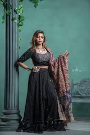 Jyotika Patel Designs Black Chaniya Choli With Silver Embroidery