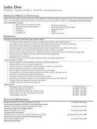 emt resume sample 16892