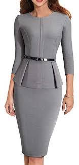 Homeyee Womens 3 4 Sleeve Office Wear Peplum Dress With Belt B473 4 Gray