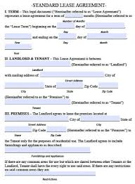 sublease contract template standard lease agreement template