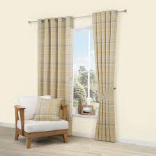 Photo 5 of 12 Addison Cream & Yellow Tartan Woven Eyelet Lined Curtains (W)