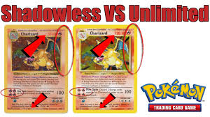 in depth of how to tell shadowless pokemon tcg cards from unlimited cards