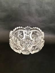 cut glass bowl brilliant cut glass deep cut glass bowl g design bowl saw tooth cut glass cut glass accent crystal serving bowl
