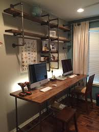 pipe wood office design ideas of building computer desk